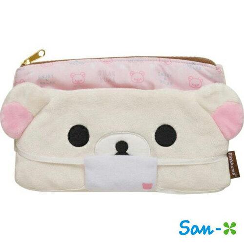 懶熊妹款【日本進口】San-X 拉拉熊 口罩收納包 化妝包 面紙包 懶懶熊 Rilakkuma - 681575