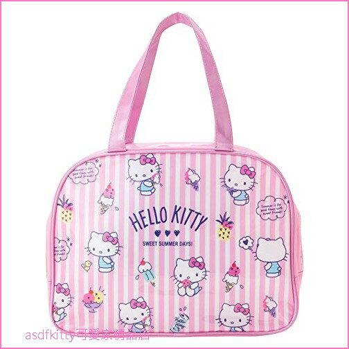 asdfkitty可愛家☆KITTY粉條紋冰淇淋防水半透明手提包手提袋游泳袋-好擦好洗-日本正版商品