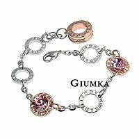 【GIUMKA】粉紅鑽羅馬數字手鍊 精鍍正白K 玫瑰金+鋯石 甜美淑女款 單個價格