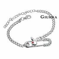 ~GIUMKA~可愛小兔迴紋針手鍊 淑女款 精鍍正白K 銀色款 鋯石 兩款  單個