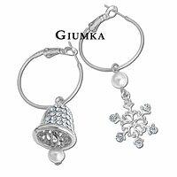 【GIUMKA】聖誕搖搖鈴雪花 耳針式耳環 精鍍正白K 鋯石 白珍珠 銀色款/一對價格 MF00095-1