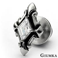 【GIUMKA】中古世紀十字鋯石德國精鋼栓扣式耳環 仿古銀刷黑處理 兩面皆可佩帶 個性街頭風 單邊單個價格 MF00213