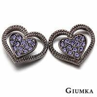 【GIUMKA】心戀心貼耳針式耳環 精鍍黑金 鋯石 大小愛心 鏤空造型設計 甜美淑女款 抗過敏鋼針 屬於歐規商品不含鎳 一對價格 MF00275-3