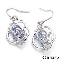 【GIUMKA】玫瑰情語鋯石垂墜勾式耳環 精鍍正白K 鋯石 甜美淑女款 鏤空花朵造型設計 一對價格 MF00339-3