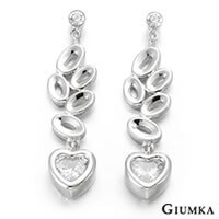 【GIUMKA】詩情愛意貼耳針式垂墜鋯石耳環 精鍍正白K 鋯石 抗敏鋼針 甜美淑女款 白鋯/一對價格 MF00416-1