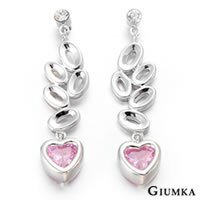 【GIUMKA】詩情愛意貼耳針式垂墜鋯石耳環 精鍍正白K 鋯石 抗敏鋼針 甜美淑女款 粉鋯/一對價格 MF00416-2
