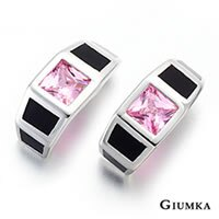 【GIUMKA】粉色方型鋯石耳針耳環 精鍍正白K 鋯石 甜美淑女款 抗過敏鋼針 一對價格/銀色粉鋯 MF00439-2