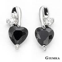 【GIUMKA】愛心鋯石耳釘耳環 精鍍正白K 鋯石 甜美淑女款 抗過敏鋼針 一對價格/銀色黑鋯 MF00470-2