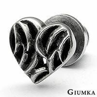 【GIUMKA】王者之心德國精鋼鋯石栓扣式耳環 仿古銀刷黑處理 兩面皆可佩帶 個性街頭風 單邊單個價格 MF00531
