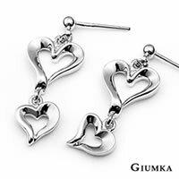 【GIUMKA】鏤空愛心吊墜鋼針耳環 精鍍正白K 甜美淑女款 抗過敏鋼針 一對價格/銀色 MF00541