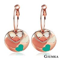 【GIUMKA】心有所屬烤漆針式耳環 精鍍玫瑰金 愛心造型設計 甜美淑女款 抗敏鋼針/一對價格 MF00569
