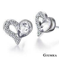 ~GIUMKA~心心相愛耳針式耳環 精鍍正白K 甜美淑女款  白  一對 MF00596~