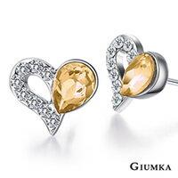 ~GIUMKA~心心相愛耳針式耳環 精鍍正白K 甜美淑女款 ^(香檳金^) 一對 MF00