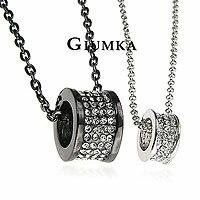 【GIUMKA】時尚車輪項鍊 男女情人對鍊 精鍍正白K 黑色/銀色 鋯石 單個價格/附白K鍊/黑鍊