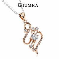 【GIUMKA】曲線精靈項鍊 八心八箭鑽石 精鍍玫瑰金 名媛淑女款 單個價格 MN233-2