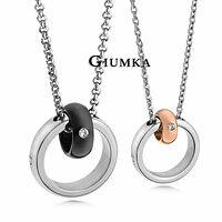 【GIUMKA】美夢成真項鍊 316L鋼男女情人對鍊 黑色/玫瑰金 鋯石 單個價格/附白鋼鍊