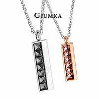 【↘殺8折】【GIUMKA】一往情深項鍊 男女情人對鍊 精鍍正白K 尖型鋯石 黑色/玫金 單個價格/附白鋼鍊