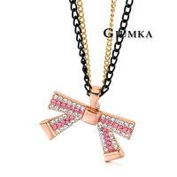 【GIUMKA】蝴蝶結舞曲項鍊 精鍍玫瑰金 雙色鋯石 甜美淑女款 單個價格/附白K鍊