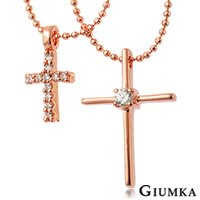 【GIUMKA】美鑽十字架鋯石雙鍊項鍊 精鍍玫瑰金 鋯石 甜美淑女款 採用珠寶工藝手工鑲鑽 單個價格 MN01494-1