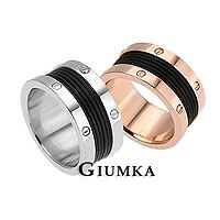 【GIUMKA】時尚愛戀戒指 男女情人316L鋼對戒 螺絲紋 銀+玫 一對價格