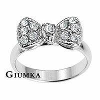 【GIUMKA】甜美風迷你蝴蝶結戒指 精鍍正白K 晶鑽鋯石 單個價格