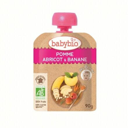 【安琪兒】法國【倍優babybio】有機香蕉杏桃纖果泥90g(6個月)