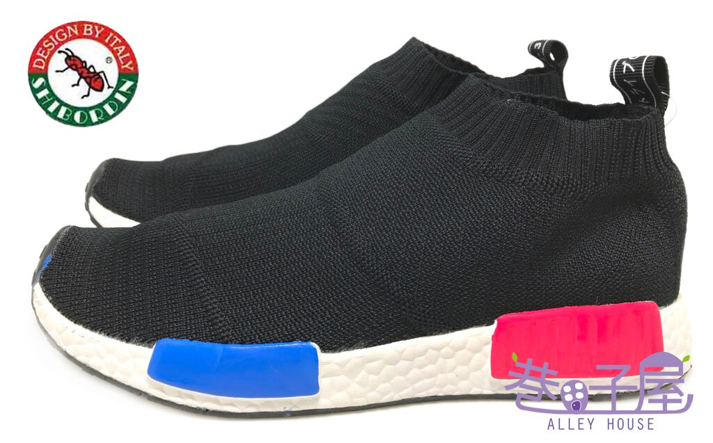 【巷子屋】喜伯登 紅螞蟻 男款編織襪套運動鞋 襪子鞋 [1612-9] 黑 超值價$498