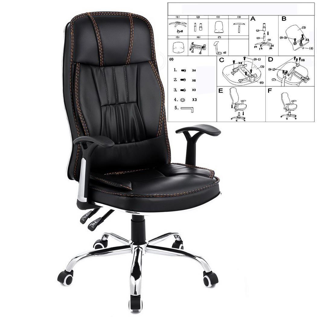 Ergonomic PU Leather High Back Office Chair with Armrests 3