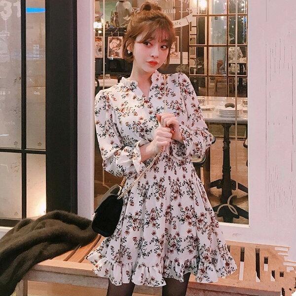洋裝韓國V領碎花收腰雪紡長袖洋裝【D3448】☆雙兒網☆