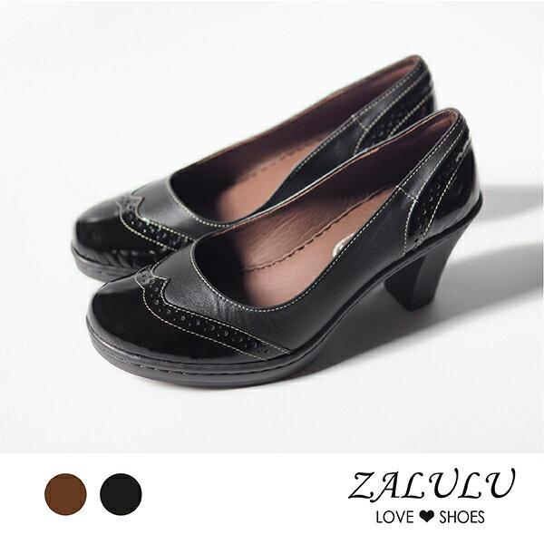 Z1202OL系列.超值牛皮英倫風雕花防水台高跟鞋-黑色咖啡-35-39