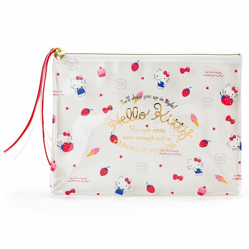 【真愛日本】18011500008 防水透明拉鍊收納包-KT草莓 ABT 三麗鷗 kitty 凱蒂貓 筆袋 收納 化妝包