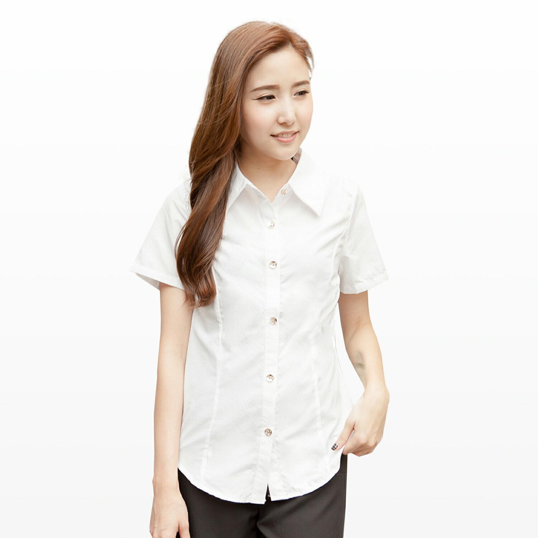襯衫--知性女孩氣質金釦造型收腰設計短袖襯衫(白.黑S-3L)-H144眼圈熊中大尺碼 1