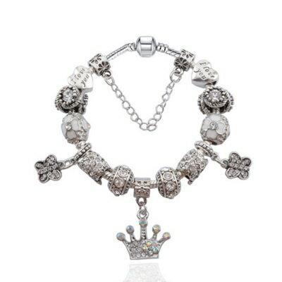 手鍊潘朵拉元素串珠手鍊925純銀 ~鑲鑽飾品純白皇冠七夕情人節生日 女 73bf13~ ~