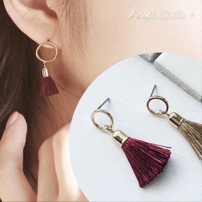 AngelNaNa:耳環。《可改夾式》優雅圈圈流蘇耳釘耳針【RA0046】