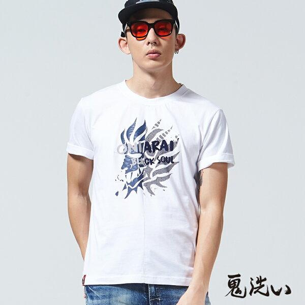【限時5折】剪接錯位鬼頭短袖T恤(白)-BLUEWAYONIARAI鬼洗