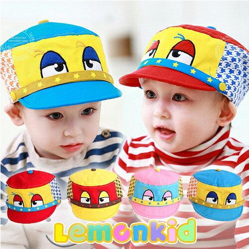 Lemonkid◆趣味俏皮卡通大眼睛星星滾邊千鳥格造型兒童帽