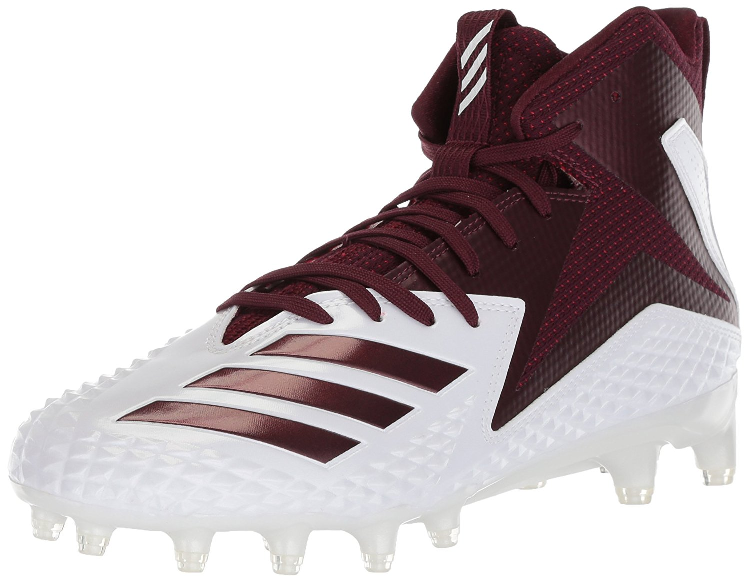 852dd8ec927d adidas Men's Freak X Carbon Mid Football Shoe, White/Maroon/Maroon, Size