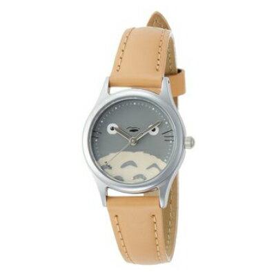 【真愛日本】16081500031 牛皮帶咖圓型銀錶-龍貓大臉 龍貓 TOTORO 豆豆龍 仿皮手錶 時尚錶 圓錶