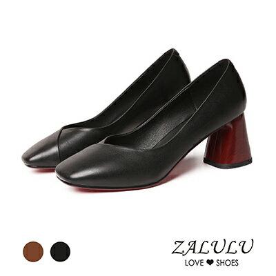 ZALULU愛鞋館7BB211真皮極舒適方頭高跟鞋-黑焦糖-35-40