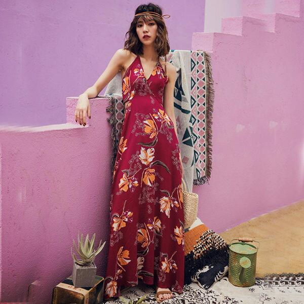 PS Mall 沙灘裙海邊度假巴厘島吊帶長裙 連身裙 洋裝【T379】 0