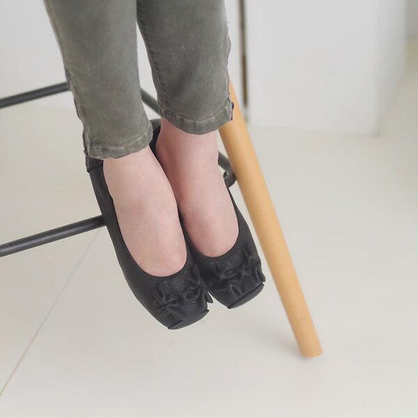 懶人鞋休閒鞋黑女鞋真皮平底鞋【SV9660】HappyLife