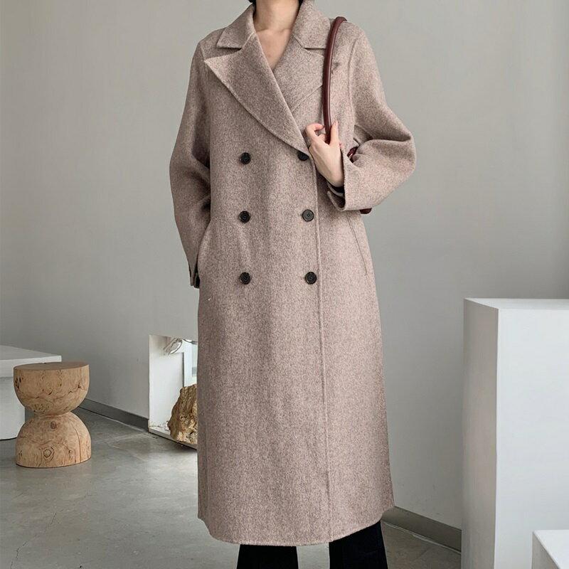 毛呢大衣羊毛外套-長版純色雙排扣翻領女外套3色73wb2【獨家進口】【米蘭精品】 2