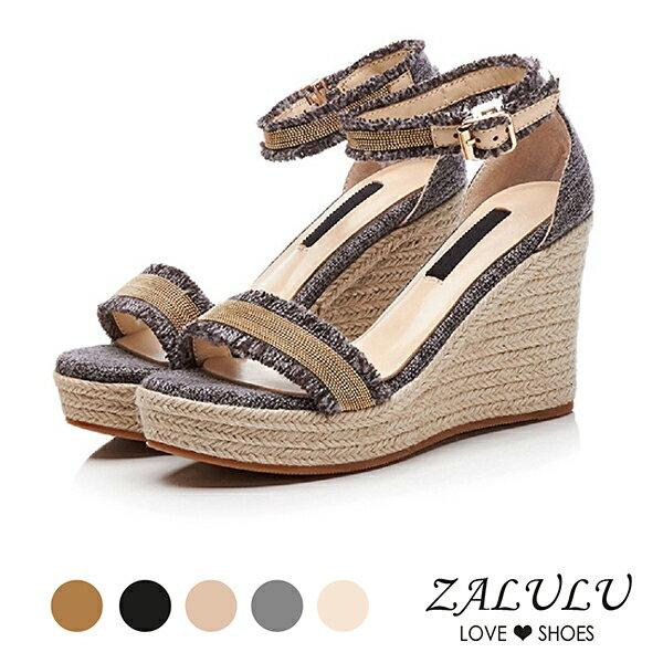 ZALULU愛鞋館7EB113波西米亞流蘇繫帶楔型涼鞋-5色-35-40