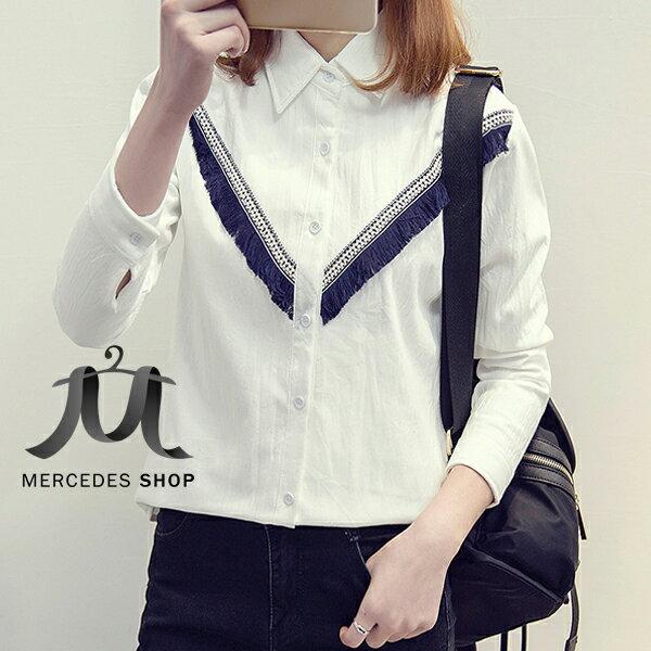 [全店7折] V流蘇造型加絨加厚長袖襯衫 (M-2XL) - 梅西蒂絲