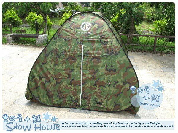 ╭~雪之屋小舖~╯~ ~ 彈開式迷彩四人帳篷  有網紗門通風透氣十足