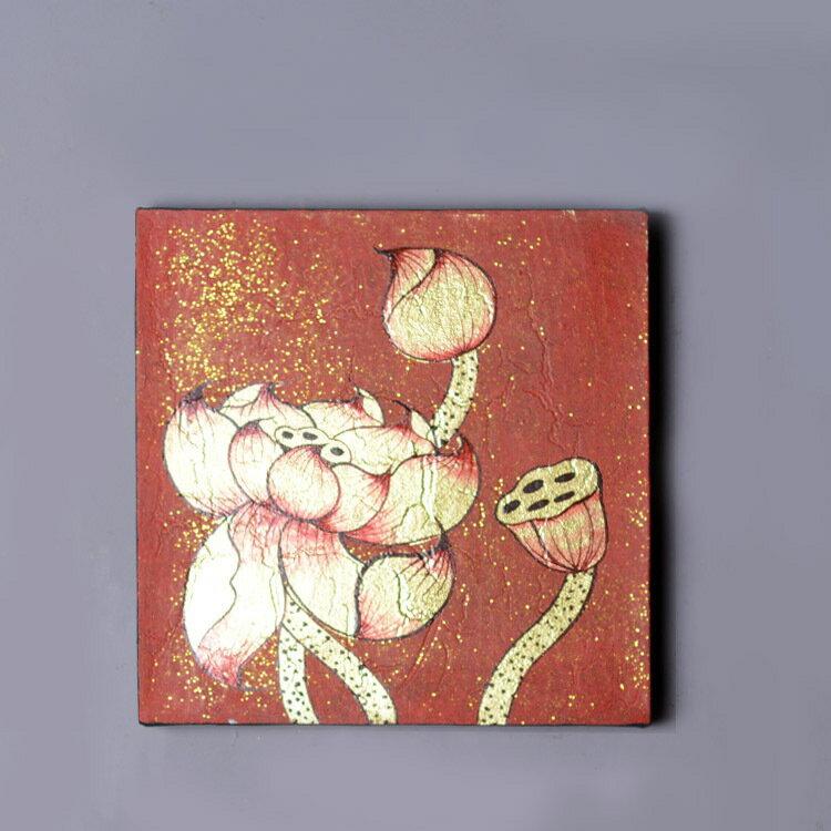 東南亞進口泰式金箔畫荷花玄關裝飾畫走廊壁爐客廳無框畫手繪油畫1入