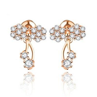 純銀耳環鍍18K金鑲鑽耳飾~ 精緻唯美 生日情人節 女飾品2色73cr343~ ~~米蘭