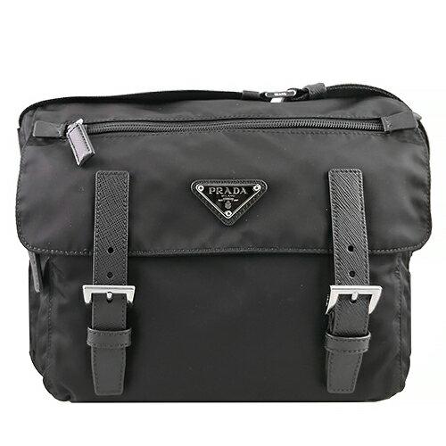【滿3000送300】PRADA 1BD953 經典三角盾牌LOGO尼龍 小款側背包 雙扣書包
