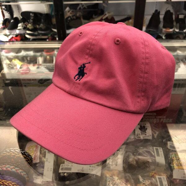 BEETLEPOLORALPH經典桃紅粉色深藍小LOGO小馬老帽棒球帽可調式男女款