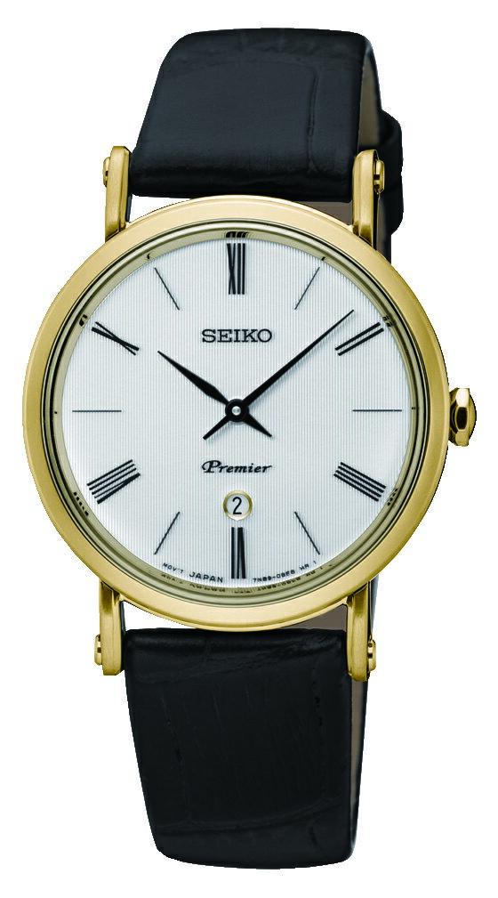 清水鐘錶 SEIKO 精工 Premier 古羅馬革新藍寶石水晶牛皮手錶 銀 金框 黑 7N89-0AY0K(SXB432J1) 30mm